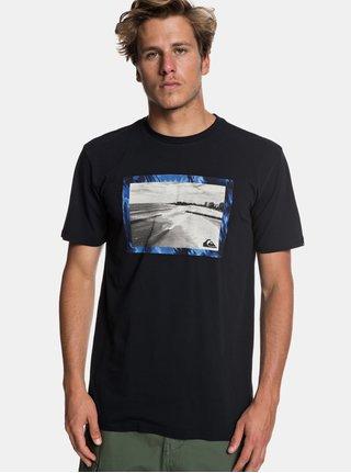 Tricou negru regular fit cu imprimeu Quiksilver