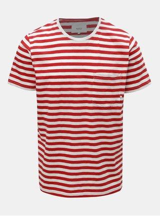 Červeno-bílé pánské pruhované tričko s kapsou Makia Verkstad