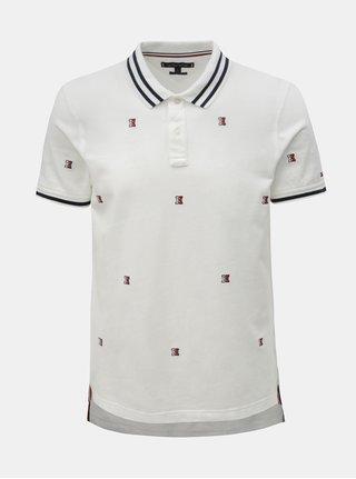 Bílé pánské vzorované slim fit polo tričko Tommy Hilfiger