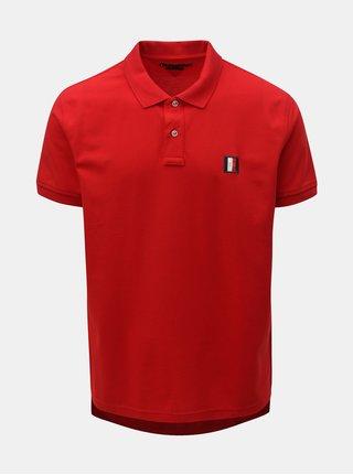 Červené pánské regular fit polo tričko s nášivkou Tommy Hilfiger
