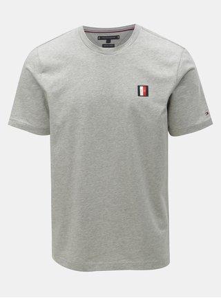 Světle šedé pánské žíhané tričko Tommy Hilfiger