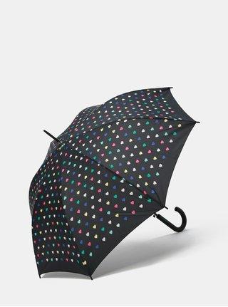 Černý vystřelovací deštník s motivem srdíček Esprit