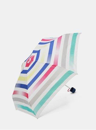Bílý skládací pruhovaný deštník Esprit