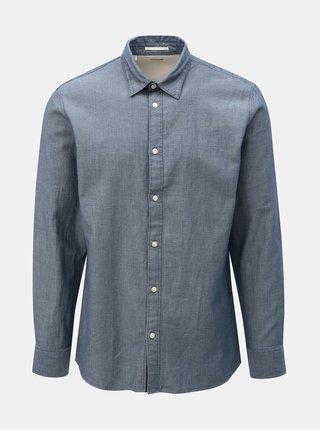 Camasa albastra slim fit cu model Selected Homme Jordan