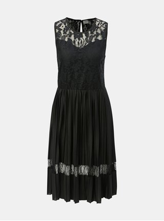 Rochie neagra plisata cu detalii din dantela Jacqueline de Yong Marni