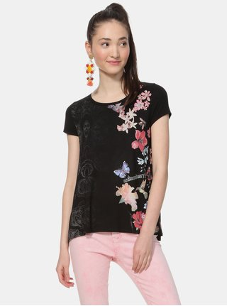 Černé květované tričko s vsadkou Desigual Panama