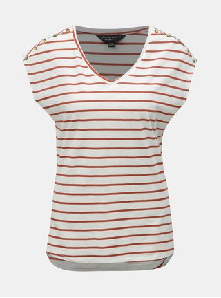 Hnědo-bílé pruhované tričko Dorothy Perkins