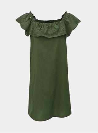 Rochie verde cu madeira si decolteu pe umeri Dorothy Perkins
