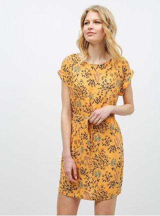 Oranžové květované šaty VERO MODA Simply