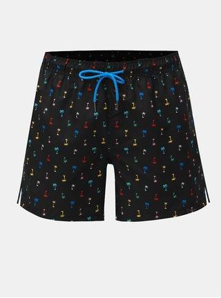 Černé pánské vzorované plavky Happy Socks Palm Beach