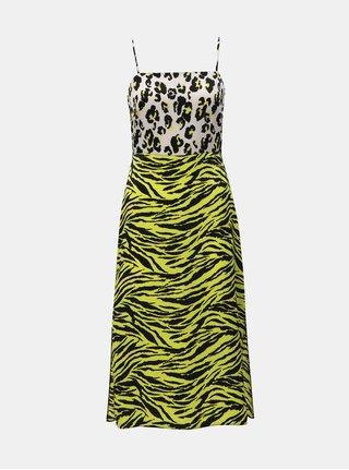 Rochie galbena cu motiv leopard si taieturi Miss Selfridge
