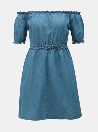 Rochie albastra din denim cu decolteu pe umeri Miss Selfridge