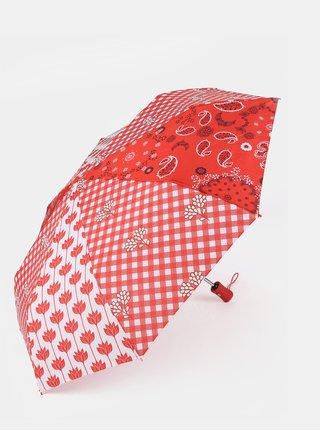 Červený vzorovaný dáždnik Desigual Dolly