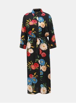 Černé květované košilové midišaty Dorothy Perkins