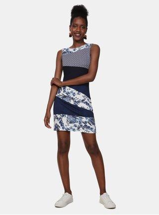 Rochie albastru inchis cu model Desigual Olivia