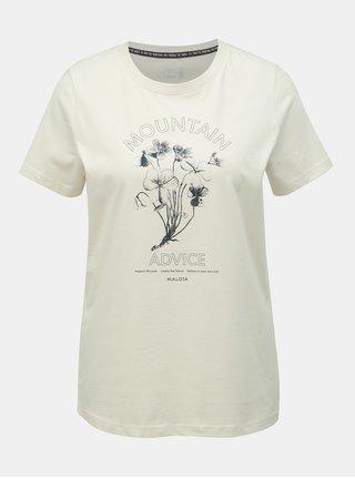 Krémové dámské tričko s potiskem Maloja Barbla