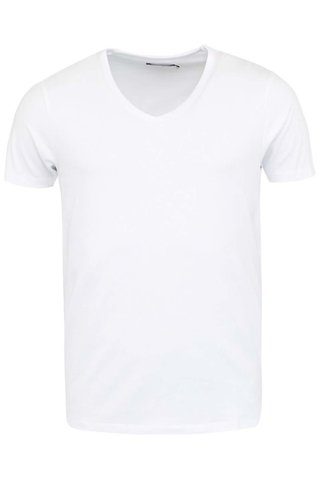 Bílé tričko s véčkovým výstřihem pod košili Jack & Jones Basic
