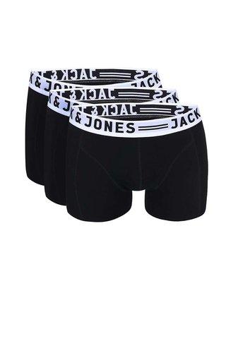 Set de trei perechi de boxeri negri Jack & Jones Sense