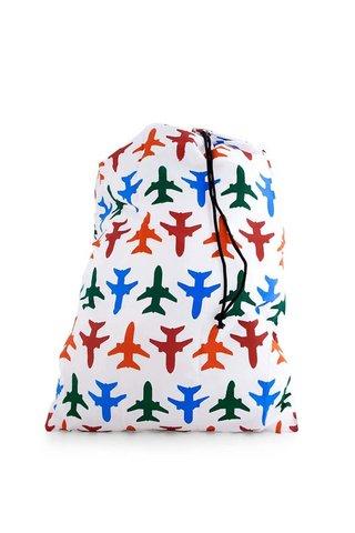 Sac de haine alb cu avioane colorate pentru calatorie KIKKERLAND