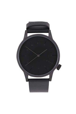 Ceas negru cu curea din piele naturala pentru barbati -  Komono Winston Regal