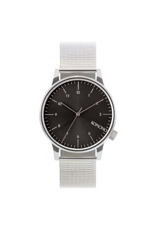Unisex hodinky ve stříbrné barvě s černým ciferníkem Komono Winston Royale