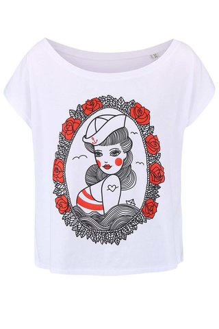 Tricou de dama cu print ZOOT Original Pin Up alb