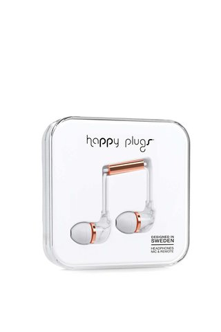 Casti In-Ear Happy Plugs Carrara Marble argintii