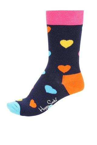 Tmavě modré unisex ponožky s motivem srdcí Happy Socks Heart