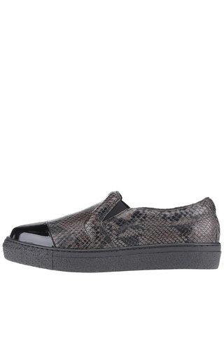 Pantofi loafer din piele OJJU Forty cu varf lacuit