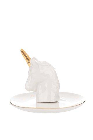 Suport alb pentru bijuterii Sass & Belle Stargazer Unicorn din portelan