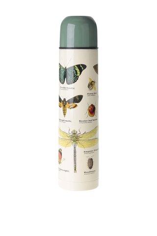 Zeleno-béžová termoska s potiskem hmyzu Gift Republic