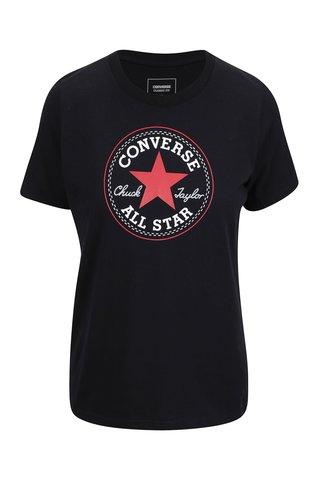 Tricou negru cu print logo pentru femei Converse Core