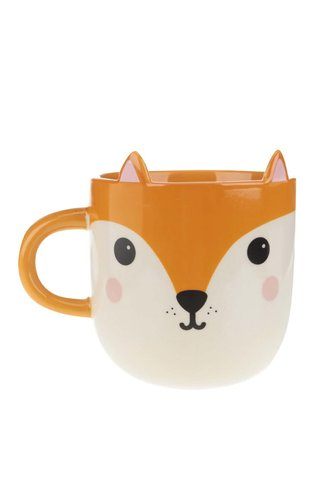 Cana crem-portocaliu Sass & Belle Hiro Fox Kawaii cu model vulpe