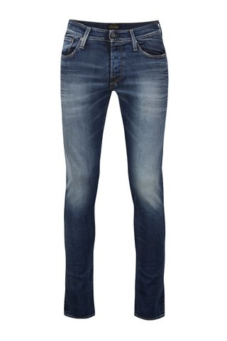 Modré pánské džíny s vyšisovaným efektem Jack & Jones Glenn