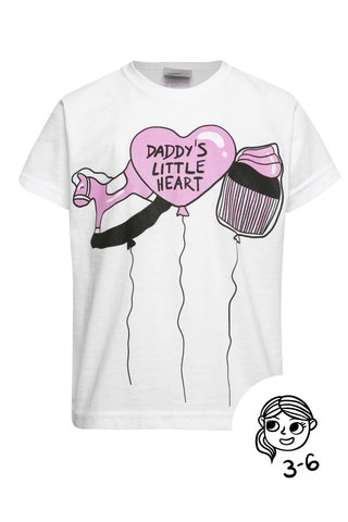 Tricou alb ZOOT Kids - Daddy's little heart din bumbac cu print pentru fete