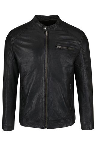 Jacheta biker neagra din piele naturala - Selected Homme New Tylor