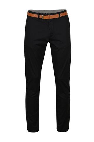 Černé slim chino kalhoty s hnědým páskem Selected Homme Hyard