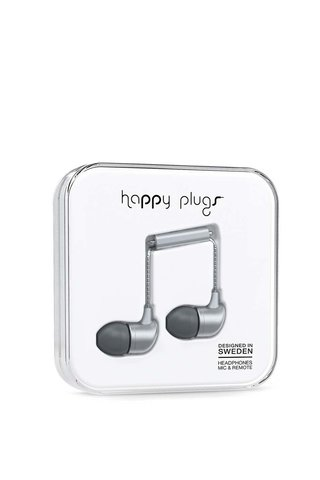 Šedá in-ear saint sluchátka Happy Plugs