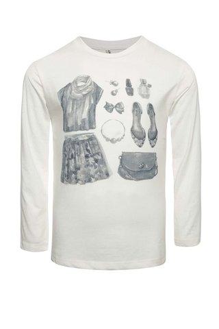 Bluza crem North Pole Kids cu print pentru fete
