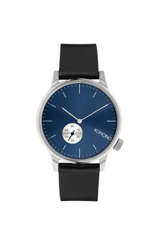 Unisex hodinky ve stříbrné barvě s černým koženým páskem Komono Winston Subs