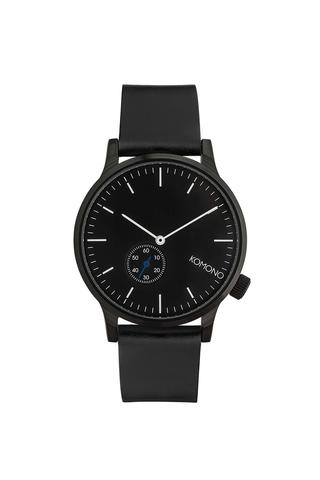 Černé unisex hodinky s koženým páskem Komono Winston Subs