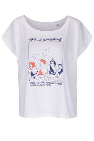 Bílé dámské volnější tričko s krátkým rukávem Bez Jablka Feminismus placení