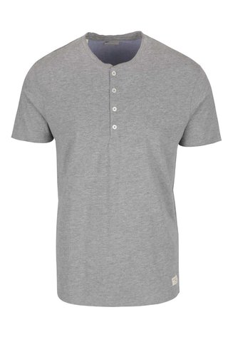 Světle šedé tričko s knoflíky Selected Homme Niklas
