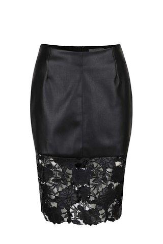 Černá koženková sukně s krajkou Darling Suki