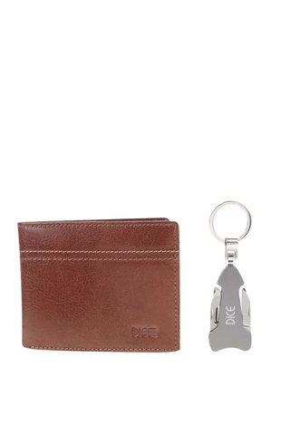 Dárkový set hnědé kožené peněženky a klíčenky s multifunkčním nožem Dice