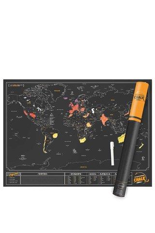Velká nástěnná stírací mapa Luckies Chalk Edition