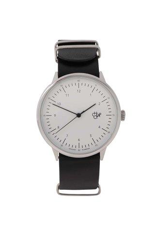 Pánské hodinky ve stříbrné barvě s černým koženým páskem CHPO Harold