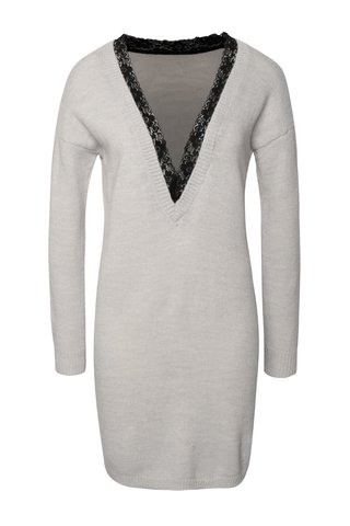 Černo-šedé svetrové šaty s véčkovým výstřihem VILA Effort