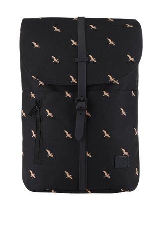Černý unisex batoh s motivem ptáků a se sponou na patent Spiral Tribeca 14 l