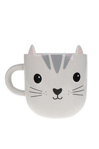 Cana gri  Sass & Belle Nori Cat Kawaii din ceramica